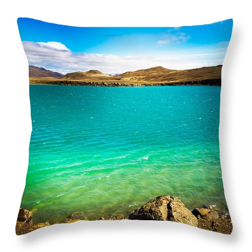 Graenavatn Throw Pillow featuring the photograph Lake Graenavatn in Iceland green and blue colors by Matthias Hauser
