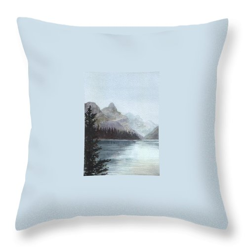 Watercolor Throw Pillow featuring the painting Lake Helevorn by Brenda Owen