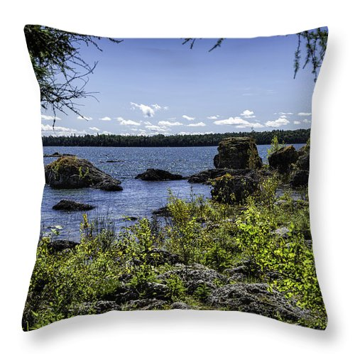 Michigan Throw Pillow featuring the photograph Lake Huron Cedarville Michigan by Timothy Hacker