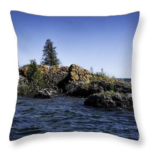 Michigan Throw Pillow featuring the photograph Lake Huron Shoreline Cedarville Michigan by Timothy Hacker
