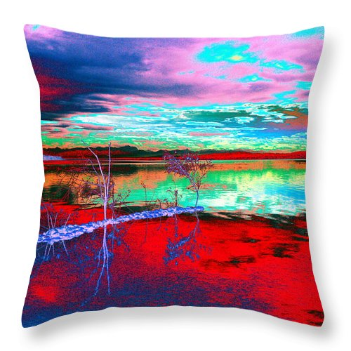 Sea Throw Pillow featuring the digital art Lake In Red by Helmut Rottler
