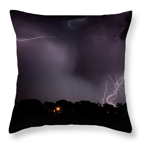 Lightning Throw Pillow featuring the photograph Lake Lightning 4 by James BO Insogna