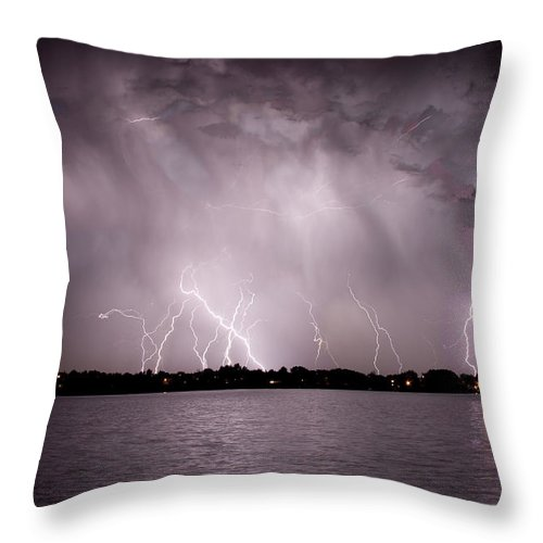 Lightning Throw Pillow featuring the photograph Lake Lightning by James BO Insogna