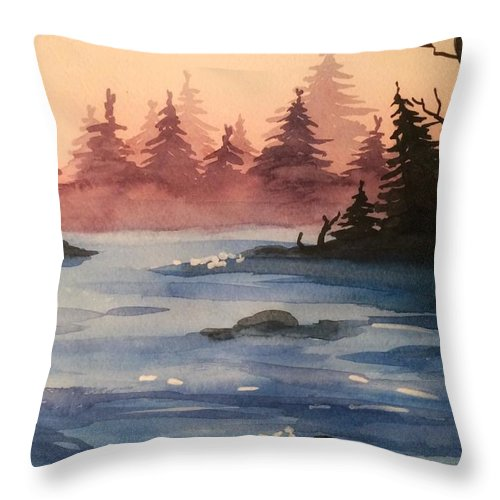 Lake Throw Pillow featuring the painting Lake by Maiia Maiorova