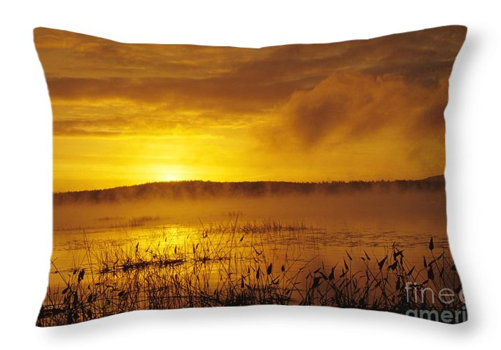 Sunrise Throw Pillow featuring the photograph Lake Massabesic - Auburn New Hampshire Usa by Erin Paul Donovan