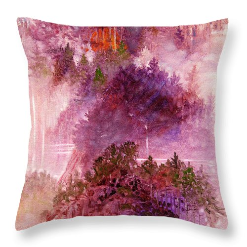 Landscape Throw Pillow featuring the painting Lake Memories by John Lautermilch