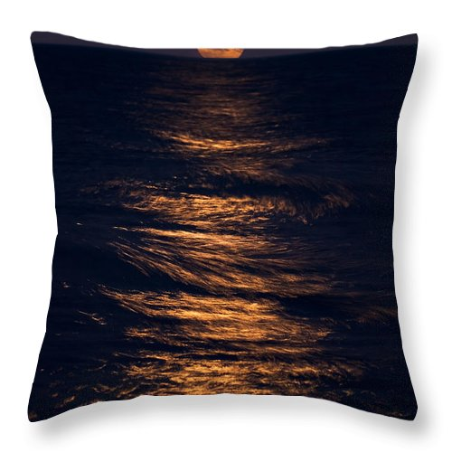 Chicago Throw Pillow featuring the photograph Lake Michigan Moonrise by Steve Gadomski