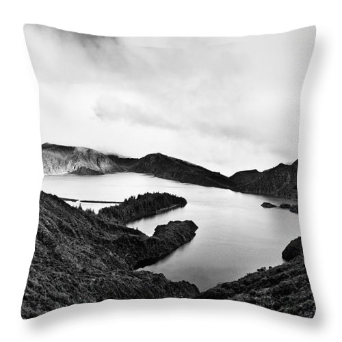 Lake Throw Pillow featuring the photograph Lake Of Fire - Lagoa Do Fogo by Nelson Mineiro
