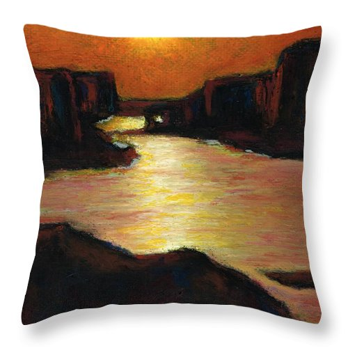 Lake Powell Throw Pillow featuring the painting Lake Powell At Sunset by Frances Marino