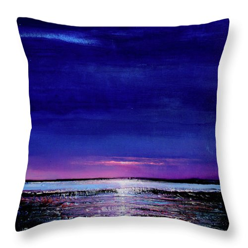 Night Throw Pillow featuring the painting Lake Shimmers by Toni Grote