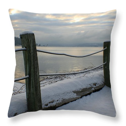 Fence Throw Pillow featuring the photograph Lake Snow by Idaho Scenic Images Linda Lantzy