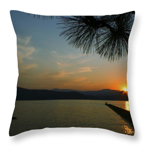 Sunset Throw Pillow featuring the photograph Lake Sunset by Idaho Scenic Images Linda Lantzy