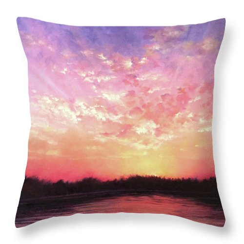 Landscape Throw Pillow featuring the painting Lake Sunset by Teri Rosario