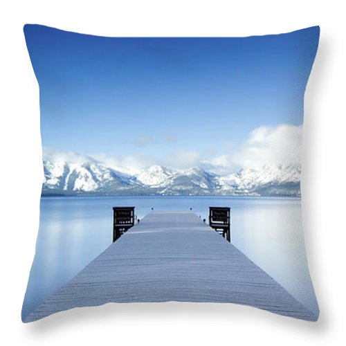 Lake Throw Pillow featuring the photograph Lake Tahoe Panorama by Matthew Train