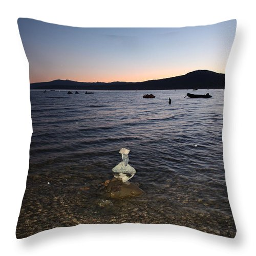 Lake Tahoe Throw Pillow featuring the photograph Lake Tahoe Sunset With Rocks And Black Framing by Carol Groenen