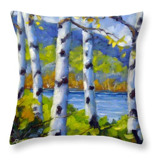 Original Painting;oil; Landscape; Birches; Trees; Nature; Richard T Pranke; Lake Throw Pillow featuring the painting Lake View by Richard T Pranke
