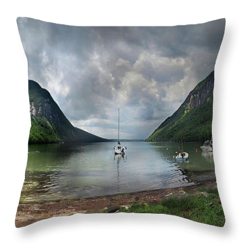 Willoughby Throw Pillow featuring the photograph Lake Willoughby Panorama One by Nancy Griswold