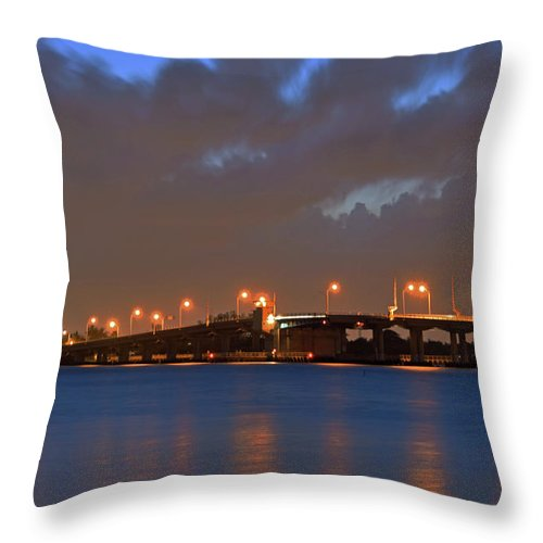 Delray Throw Pillow featuring the photograph Lake Worth Bridge Nightfall by Ken Figurski