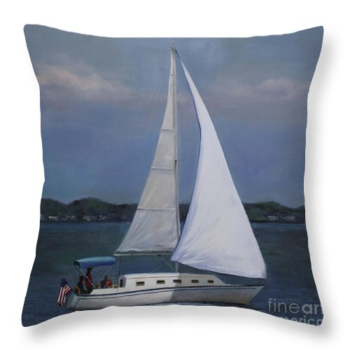 Sailboat Painting Throw Pillow featuring the painting Lakeside Leisure by Terri Meyer