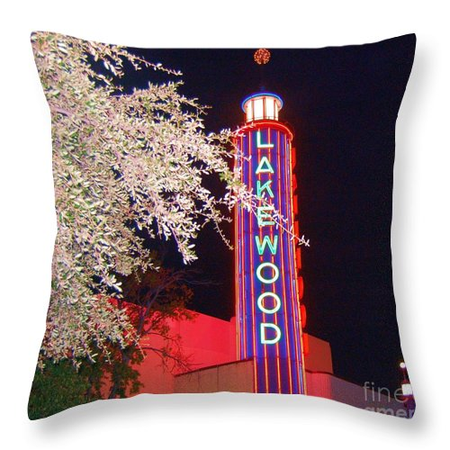 Theater Throw Pillow featuring the photograph Lakewood Theater by Debbi Granruth
