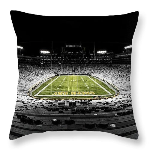 Green Bay Packers Throw Pillow featuring the photograph Lambeau Field At Night by Robert Hayton