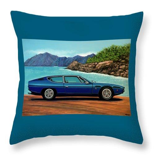 Lamborghini Espada Throw Pillow featuring the painting Lamborghini Espada 1968 Painting by Paul Meijering