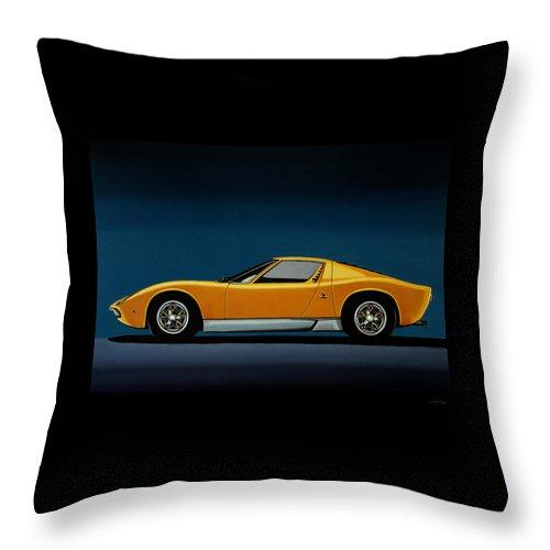 Lamborghini Miura Throw Pillow featuring the painting Lamborghini Miura 1966 Painting by Paul Meijering