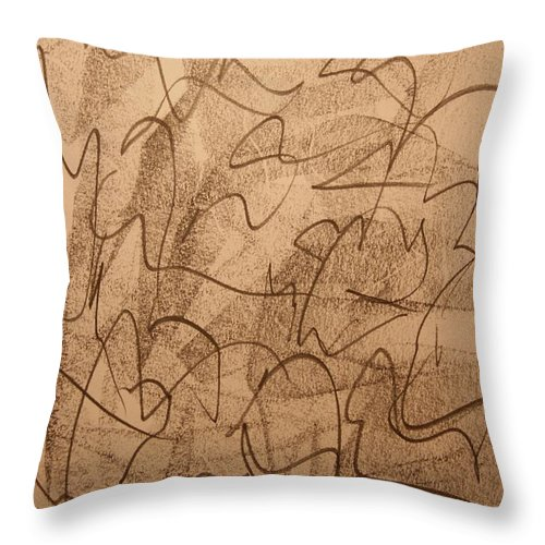 Abstract Throw Pillow featuring the drawing Lambs King by David Barnicoat