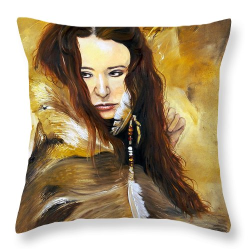 Southwest Art Throw Pillow featuring the painting Lament by J W Baker
