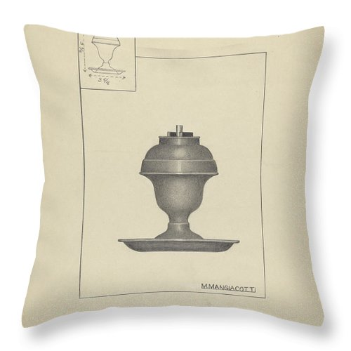 Throw Pillow featuring the drawing Lamp by Matthew Mangiacotti