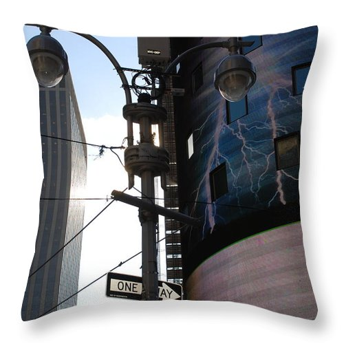 Scenic Throw Pillow featuring the photograph Lampost And Lightning by Rob Hans