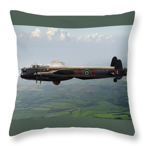 617 Squadron Throw Pillow featuring the digital art Lancaster Aj-g Carrying Upkeep by Gary Eason