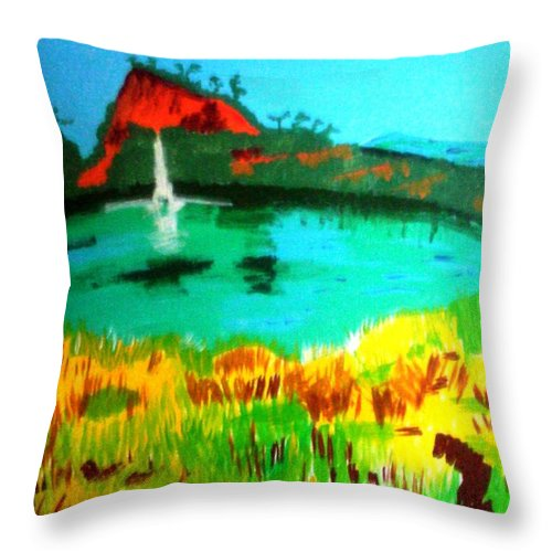 Landscape Throw Pillow featuring the painting Land And Sea by Lorna Lorraine