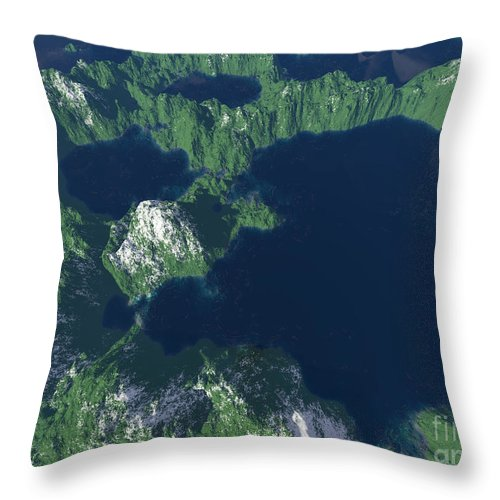 Craters Throw Pillow featuring the digital art Land Of A Thousand Lakes by Gaspar Avila