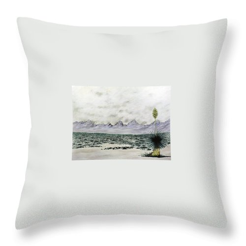 Desertscape Throw Pillow featuring the painting Land of Enchantment by Marco Morales