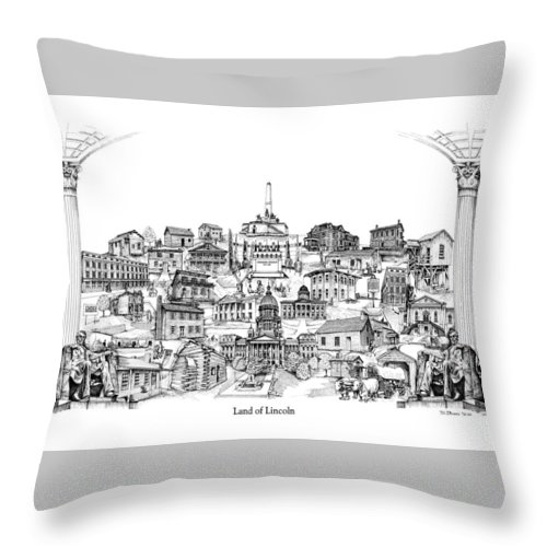 City Drawing Throw Pillow featuring the drawing Land Of Lincoln by Dennis Bivens