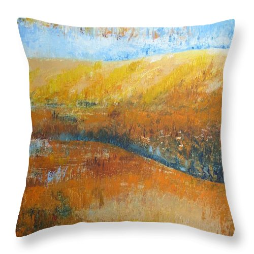 Landscape Throw Pillow featuring the painting Land Of Richness by Stella Velka