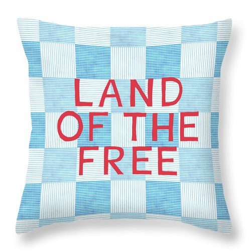 Land Of The Free Throw Pillow featuring the painting Land Of The Free by Linda Woods