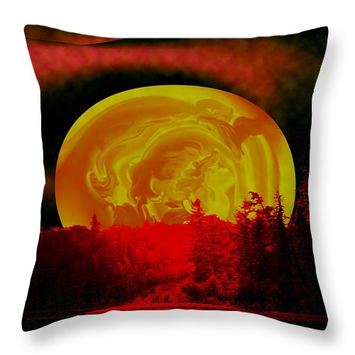 Moon Throw Pillow featuring the photograph Land Of The Living Skies by Andrea Lawrence
