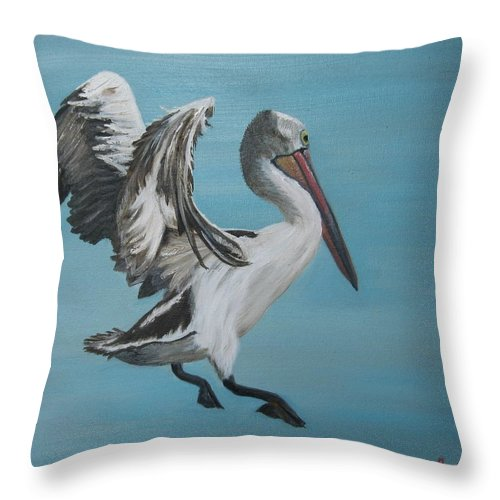 Pelican ; Birds Throw Pillow featuring the painting Landing Gear Activated by Jenny Smith