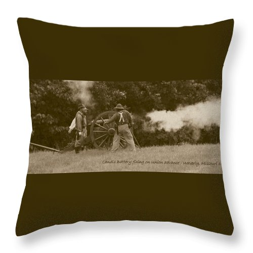 Sepia Throw Pillow featuring the photograph Landis Battery Firing On Union Advance by David Dunham