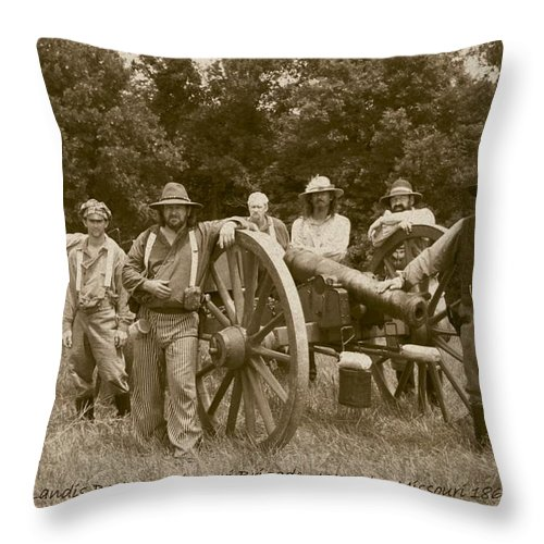 Sepia Throw Pillow featuring the photograph Landis Battery Missouri Brigade by David Dunham
