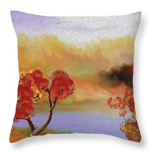Fine Art Throw Pillow featuring the digital art Landscape 031111 by David Lane