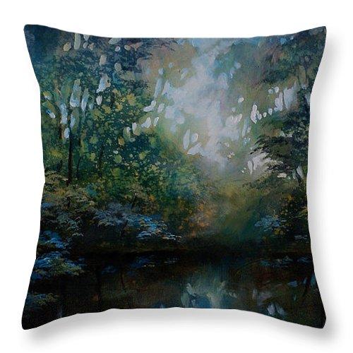 Original Landscape Painting Throw Pillow featuring the painting Landscape 2 by Michael Lang