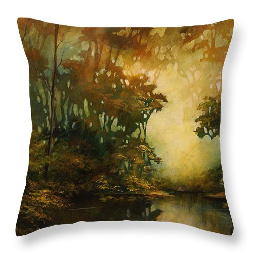 Abstract Art Throw Pillow featuring the painting Landscape 3 by Michael Lang