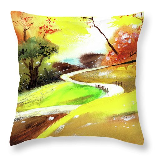 Nature Throw Pillow featuring the painting Landscape 6 by Anil Nene
