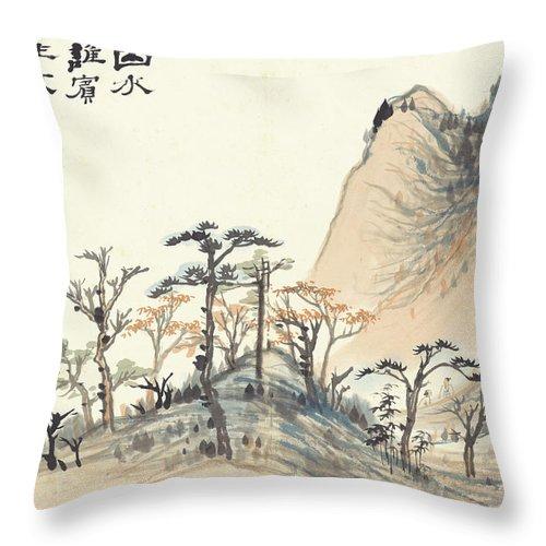 Landscape Album Throw Pillow featuring the painting Landscape Album by Zhang Daqian