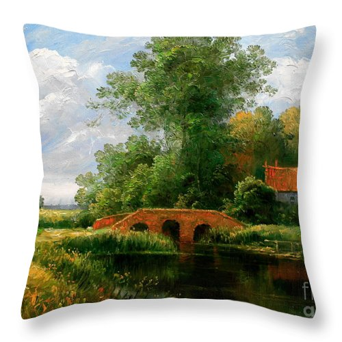 Landscape Throw Pillow featuring the painting Landscape by Arthur Braginsky