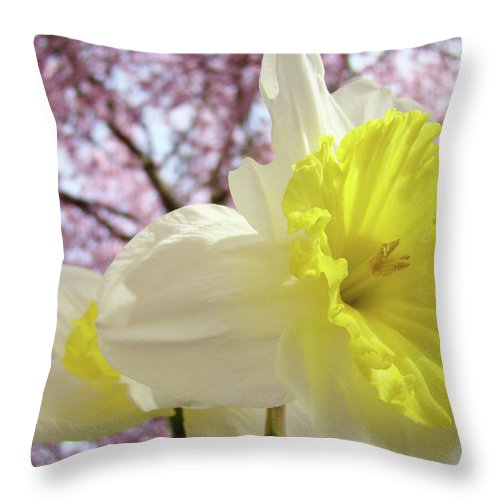 Trees Throw Pillow featuring the photograph Landscape Daffodils Flowers Art Pink Tree Blossoms Spring Baslee by Baslee Troutman