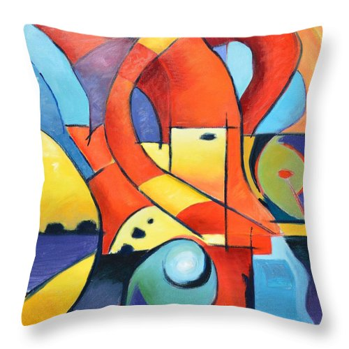 Abstract Throw Pillow featuring the painting Landscape Figure Abstract by Gary Coleman